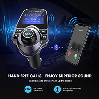 """Victsing Bluetooth Fm Transmitter For Car, Wireless Bluetooth Radio Transmitter Adapter With Hand-free Calling & 1.44"""" Lcd Display, Music Player Support Tf Card Usb Flash Drive Aux Inputoutput 3"""