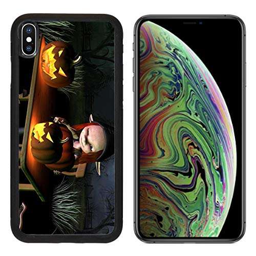 Liili Premium Apple iPhone Xs MAX Aluminum Backplate Bumper Snap Case Image ID 32913908 Little Goblin Carving Spooky Halloween Pumpkin Lanterns with Dark Halloween Background -