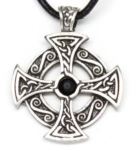 Pewter Solar Cross Pendant w/ Jet Black Swarovski Crystal on Leather Necklace Jet Cross Necklace