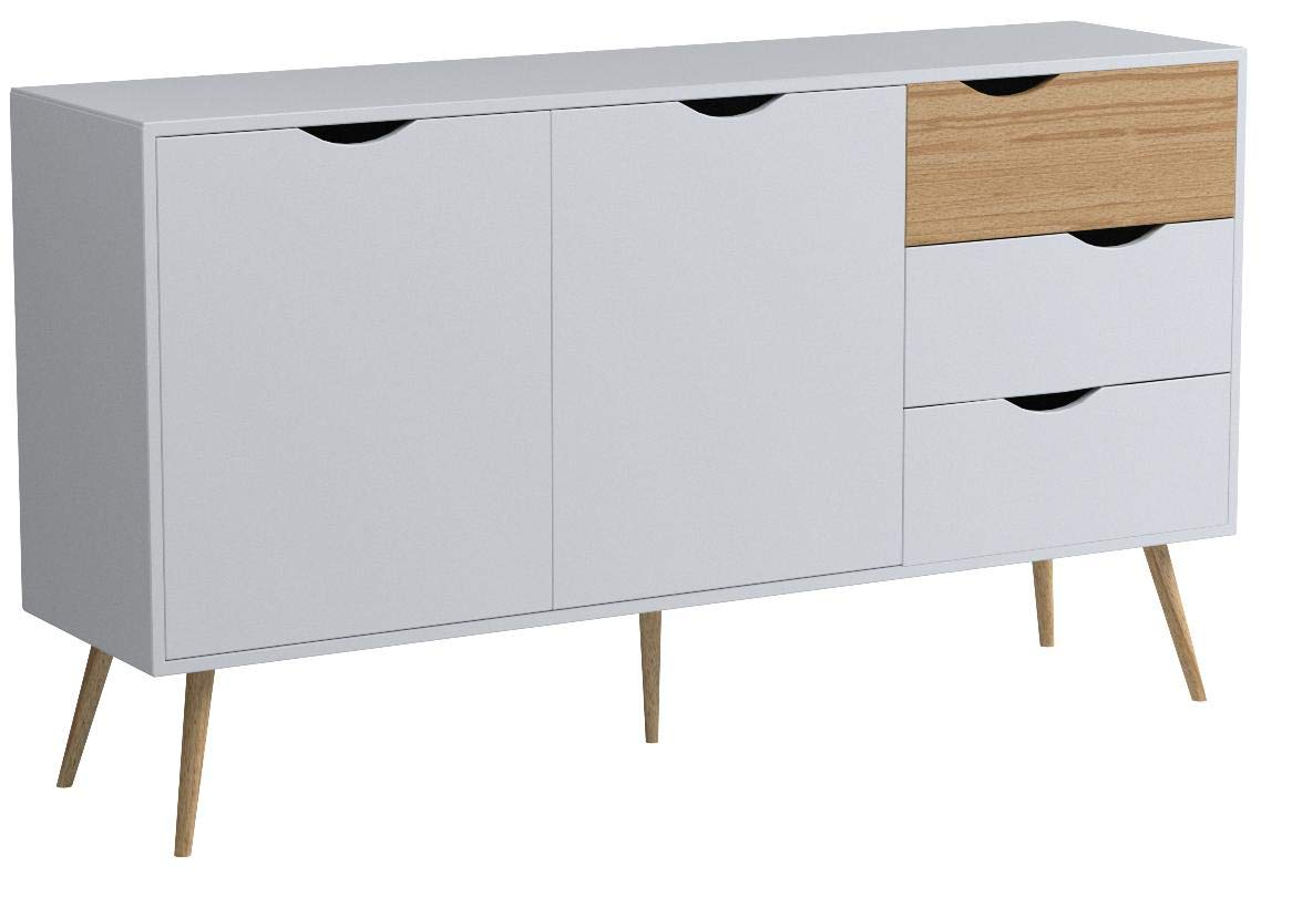 Tvilum 7538149ak Diana Sideboard with 2 Doors and 3 Drawers, White/Oak Structure