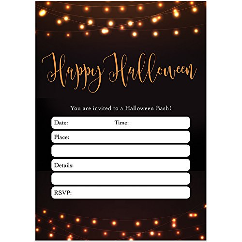 Modern Halloween Party Invites & Envelopes (Pack of