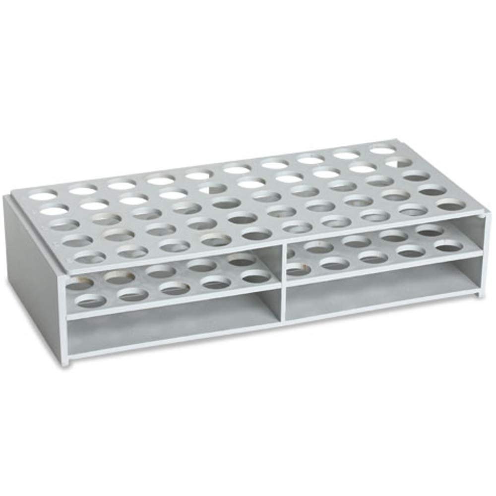Plastic Test Tube Rack for 16mm Tubes, ABS Material, White, Karter Scientific 208X3 (Case of 12)