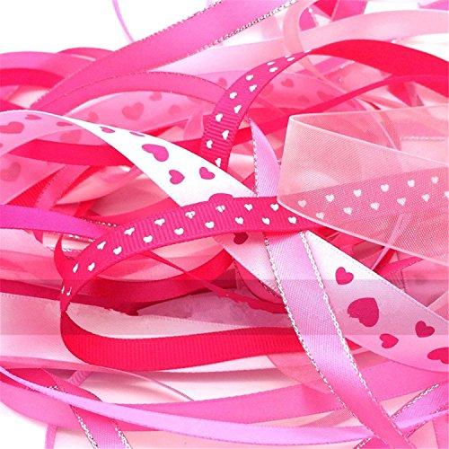 Luxbon Packung mit 10 Stück je 2m variieren Stil 6mm - 16mm Satinband Schleifenband Dekoband Geschenkband Organzaband Bänder für Hochzeit Taufe Pink