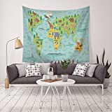 Vocktops Map Tapestry, Forest Animal Map of the World Tapestry for Children and Kids Cartoon Mountain image, Headboard Wall Art Bedspread Dorm Home Tapestry