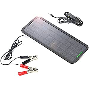 ALLPOWERS 18V 5W Portable Solar Car Battery Charger Bundle with Cigarette Lighter Plug, Battery Charging Clip Line, Suction Cups & Manual