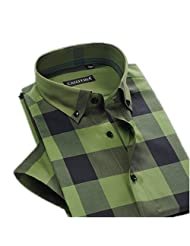 Summer Mens Contrast Plaid Stripe Short Sleeve Casual Shirts