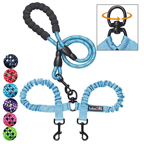 tobeDRI Comfortable Dual Dog Leash Tangle Free with Shock Absorbing Bungee Reflective 2 Dog Leashes for Large Medium Small Dogs (Blue for 25-100 lbs)