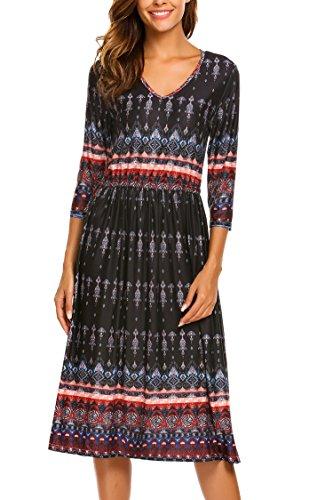- Beyove Women's Bohemian V-Neck Printed 3/4 Sleeve Long Dress Black S