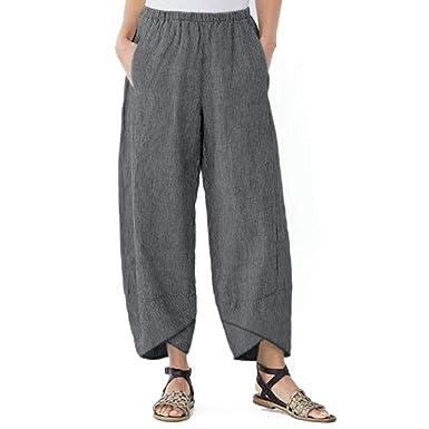 ahorrar eaece 2bef9 Pantalones Mujer Verano 2019 Largos Moda para Casual Bolsillo SóLido  EláStico Cintura Suelta Pantalones Lino Pantalones