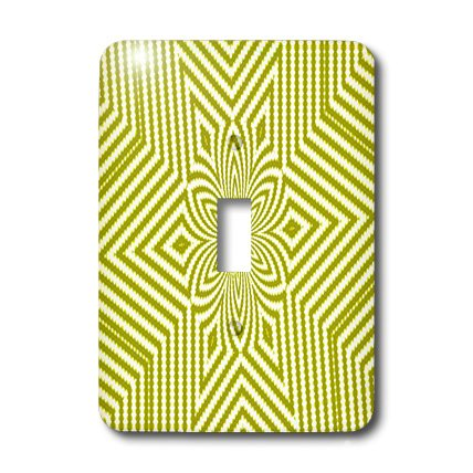 3dRose lsp_18473_1 Textile Pattern Lime Green And White Large Star Single Toggle Switch
