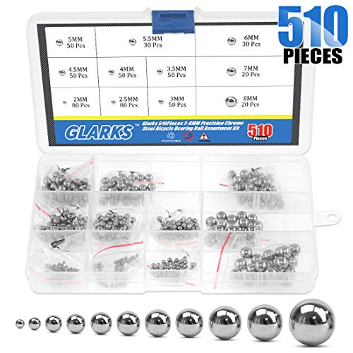 Glarks 510Pieces 11 Size 2-8MM Metric Precision Chrome Steel Assorted Loose Bicycle Bearing Ball Assortment Kit