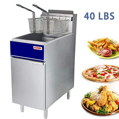 Premium Commercial Deep Fryer - KITMA 40 lb. Liquid Propane 3 Tube Floor Fryer with 2 Fryer Baskets - Restaurant Kitchen Equipment for French Fries, 90,000 BTU/h
