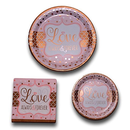 Bridal Wedding Anniversary Shower Paper Plates and Napkins Party Pack Bundle - Bachelorette Disposable Tableware Includes - 16 Love Always And Forever Dinner Plates - 16 Dessert Plates and 32 Napkins