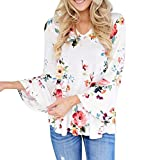 Women Hot Sale Floral Printing New Autumn Transition O-Neck Long SleeveTops Shirt MOKAO 2017 Vogue Casual Color Stitching Daily Blouse (L5, White 2)