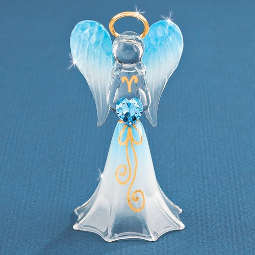Lavender/Blue Angel with Crystal Glass Figurine - Perfect Religious Gift