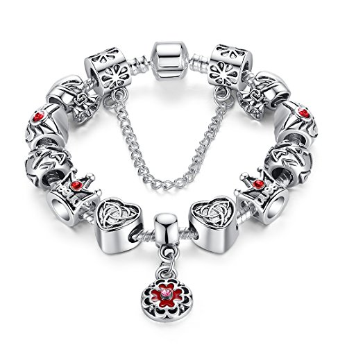 """Bamoer 2015 """"June New Arrival"""" Vintage Silver European Vintage Heart Crown Bead Charm Bracelet with Exquisite Hand-painted Glass Bead"""