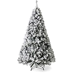 Best Choice Products 9ft Premium Snow Flocked Hinged Artificial Christmas Pine Tree Festive Holiday Decor w/Sturdy Metal Stand - Green 21