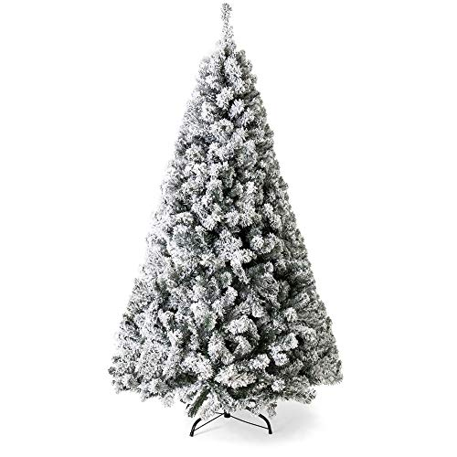Best Choice Products 9ft Snow Flocked Hinged Artificial Christmas Pine Tree Holiday Decor with Metal Stand, Green (Ft Christmas Lit 9 Tree Clearance Pre)