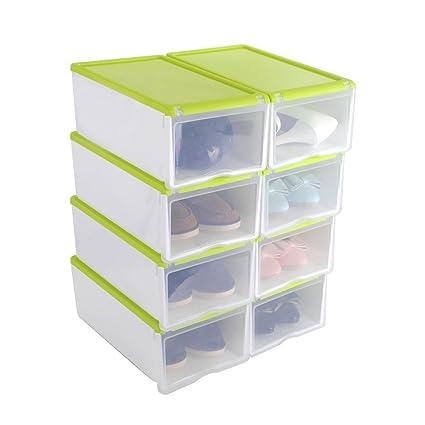 Cajas de zapatos, HST Mall Zapatero Apilable de plástico transparente, Organizador estantería de zapatos