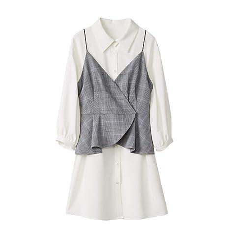 HECHEN Vestido de Mujer-Falda-Falso Falda de Dos Piezas Camisa ...