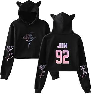 b25111b8baca6 EmilyLe Ladies BTS Hoodies Love Yourself Turn Tear Crop Top for Army Jin  Suga J-
