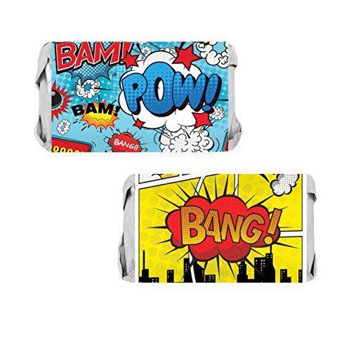 Comic Book Superhero Party Miniatures Candy Bar Wrapper Stickers, 54 Count