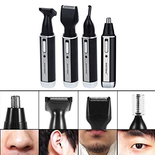BESTGIFT Nariz cortador de pelo del oído 4 en 1 impermeable Rechargable 360 grados barba eléctrica Sideburn cejas...