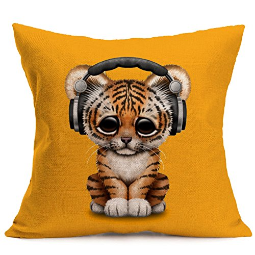 Aremazing Lovely Animals Tiger Baby Wearing Headphones Cotton Linen Home Decor Pillowcase Throw Pillow Cushion Cover with Orange Background 18 x 18 Inches (Tiger Baby Wearing Headphones)