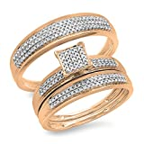 Dazzlingrock Collection 0.50 quilates (ctw) 14k Rose Gold Round Diamond hombres y mujeres Micro Pave nupcial Band Band Set 1/2 CT