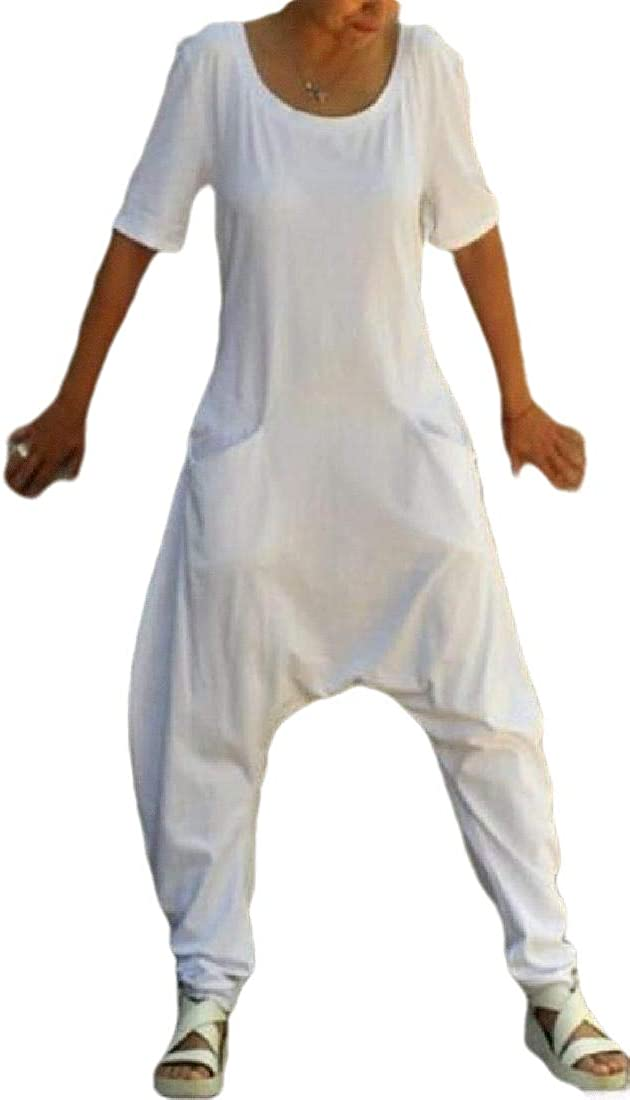 HANA+DORA Women Comfy Casual Short Sleeves Harem Long Pants Jumpsuits Romper