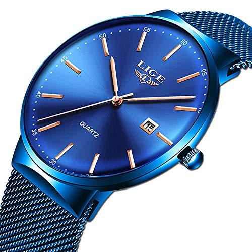 LIGE Men's Watch Fashion Casual Minimalist Analog Quartz Watch for Men Waterproof Stainless Steel Mesh Belt Calendar Full Blue Gents Dress Wristwatch Blue Stainless Steel Watch