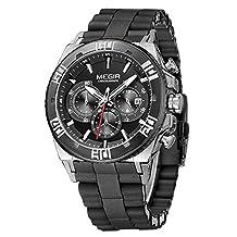 Fanmis Men's Outdoor Black Silicone Band Chronograph Calendar Waterproof Quartz Wrist Watches