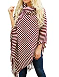 Sexyshine Women's Fall Loose Turtleneck Stripe Tassel Shawl Wrap Poncho Cape Cloak Pullover Sweater Tops,WR