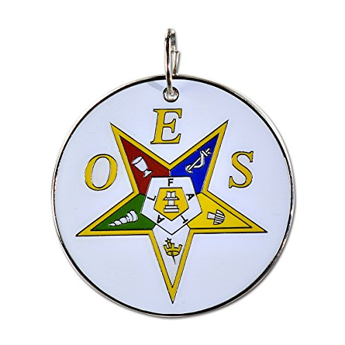 Order of The Eastern Star White, Yellow & Silver Round Masonic Ornament - 2 1/2