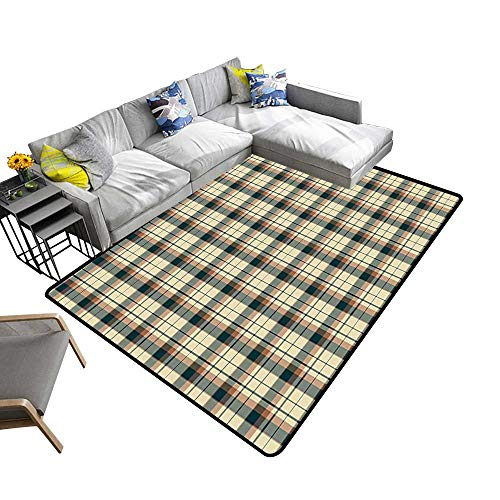 Contemporary Synthetic Rug Traditional Plaid Tartan Pattern Checkered Design with Stripes Blue Cream Cinnamon Stain Resistant & Easy to Clean 22 x 60 inch