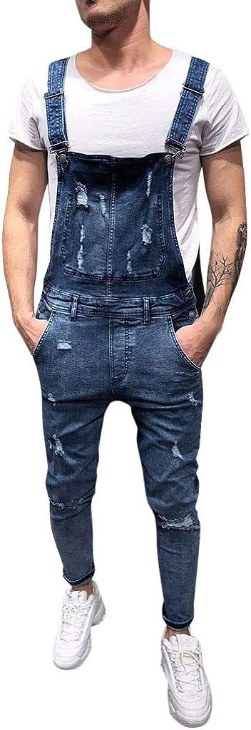 QinMM Petos de Pantalones Vaqueros de Mono para Hombre Pantalones de Bolsillo Rotos Pantalones de Liga Babero Pantalón