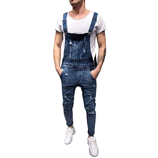 96862759d99 Startview Men s Overall Casual Jumpsuit Jeans Wash Broken Pocket Trousers  Suspender Pants (Blue
