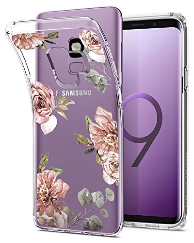 Spigen Liquid Crystal Galaxy S9 Case with Light but Durable Flexible Clear TPU Protection for Samsung Galaxy S9 (2018) – Blossom Flower