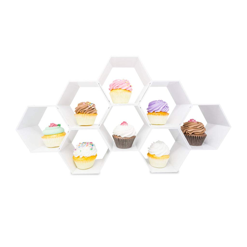 Kwirkworks Cupcake Stand -Unique Design Honeycomb Cupcake Holder |Create Several Styles with Different Combinations of Hexagon Shelf (White)