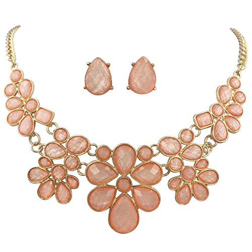 Gypsy Jewels Abstract Dot Bubble Gold Tone Boutique Statement Necklace Earrings Set - Assorted colors (Peach) (Pastel Flower Necklace)