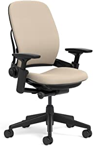 Steelcase Leap Ergonomic Office Chair with Flexible Back | Adjustable Lumbar, Seat, and Arms | Black Frame and Buzz2 Sable Fabric