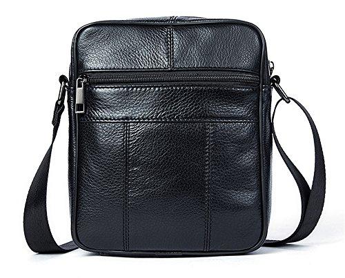 Macho de cuero color sólido bolsa bandolera hombre cabeza-capa bolsa bandolera de cuero Casual sección vertical bolsa zipper,brown Negro