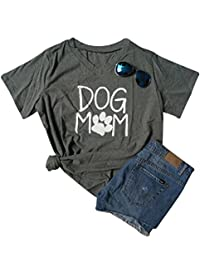 BANGELY Womens Dog Mom V Neck Letters T-Shirt Moms Gift Dog Paw Casual Tees Tops