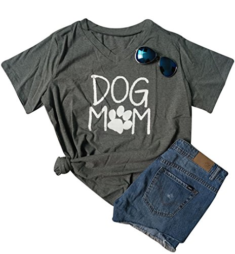 Women Mom Dog T-Shirt Short Sleeve Cute Funny Letter Print Shirt Top Size M (Gray)