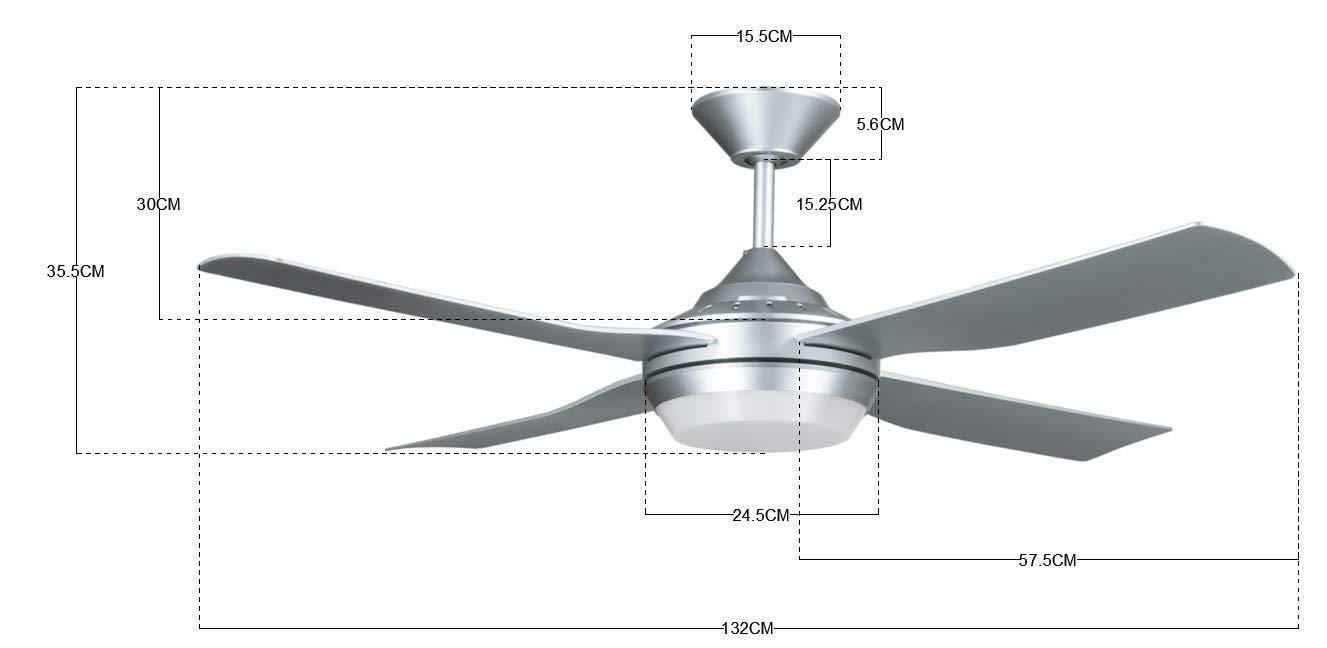 Noir 75/Watts Lucci Air Moonah ventilateur avec lumi/ère LED