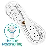Maximm Cable 20 Ft 360° Rotating Flat Plug Extension Cord / Wire, Multi Outlet Extension Wire, 3 Prong Grounded Wire - White