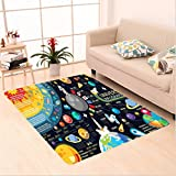 Nalahome Custom carpet n New Horizons of Solar System Infographic Pluto Venus Mars Jupiter Skyrocket Design Blue Yellow area rugs for Living Dining Room Bedroom Hallway Office Carpet (4' X 6')