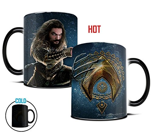 Morphing Mugs Justice League Aquaman Logo Heat Reveal Ceramic Coffee Mug - 11 Ounces -
