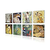 Alonline Art - Tree Life Kiss Woman Gustav Klimt PRINT On CANVAS (100% Cotton, UNFRAMED Unmounted) 24''x24'' - 61x61cm Set of 8 Lot Painting Canvas For Bedroom Oil Paint Wall Decor Oil Paintings Prints