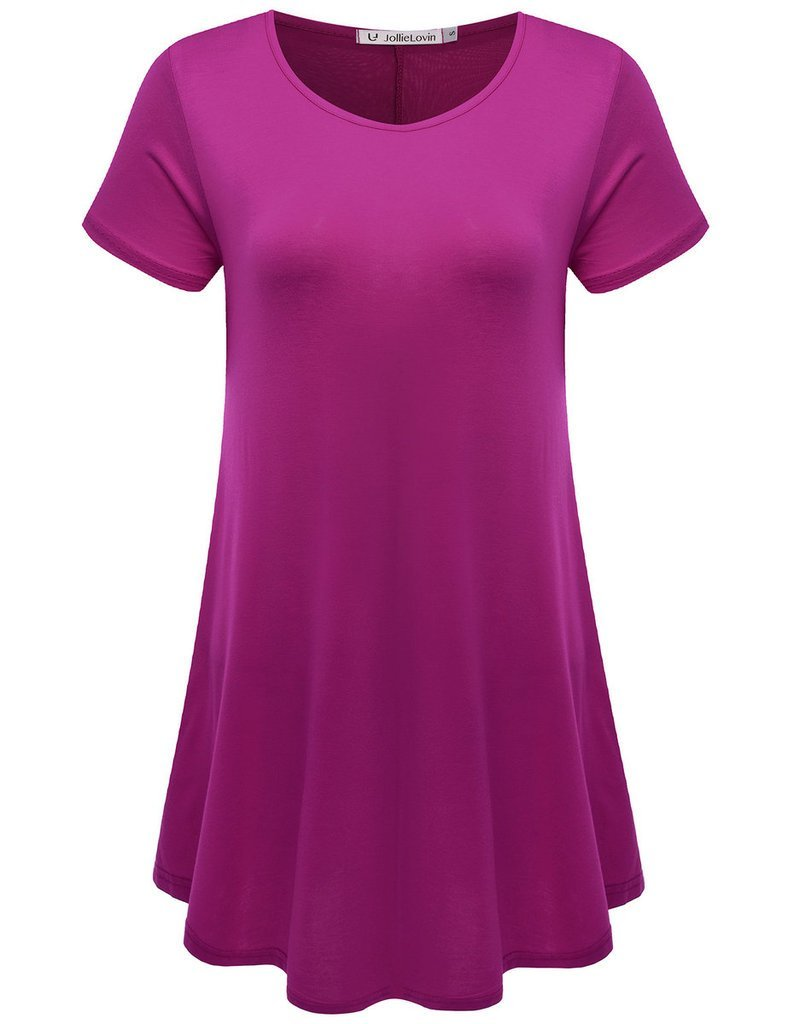 JollieLovin Women's Short Sleeve Loose Fit Flare Hem T Shirt Tunic Top (Fushia, 2X)